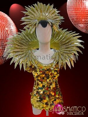 Charismatico Chinese Inspired Gold Sequin Dress And Gold Blade Collar And Crown