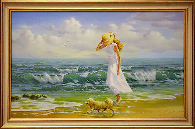 "Seascape Oil Painting On Canvas By Leonid Lindin - Walking (19,7 X 31,5"")"