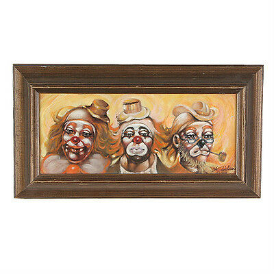 """""""your Favorite Clown Is?"""" By Anthony Sidoni 1998 Signed Oil Painting"""
