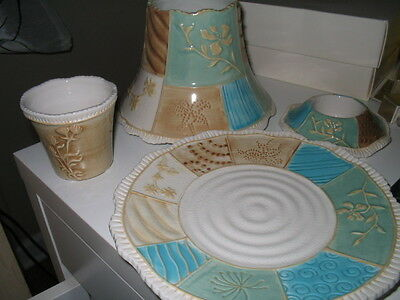 New Yankee Candle Jar Candle Shade/plate/votive Set Beach Patchwork Flower Sand
