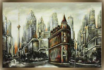 """Victor Zag - Ironworks - Cityscape Painting - Giclee Reproduction 30""""x60"""""""