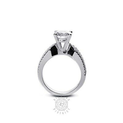0.86ct. D-si2 V.good Round Agi Certify Diamond 950pl Vintage Engraved Ring 8.08g