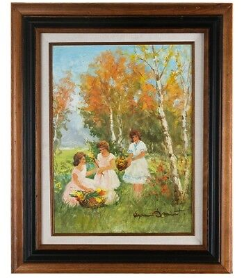 """""""trois femmes"""" by suzannet demarest framed oil on canvas 12"""" x 16"""" 1967 w/ coa"""