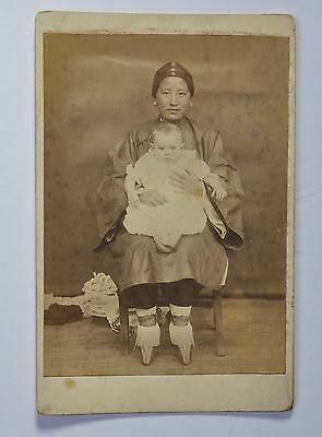 Antique Photo Chinese China Woman Traditional Dress Lotus Shoes Albumen 1900 #5