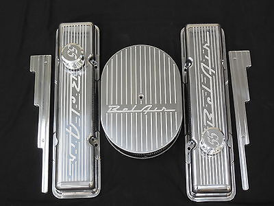 Belair Vintage Chevy Stock Hieght Valve Cover Set Machined 55 56 57 Breahters