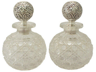 Pair Of Cut Glass And Sterling Silver Scent Bottles - Antique Victorian