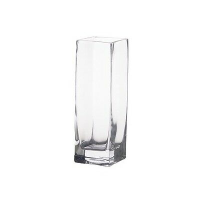 """Clear Glass Square Bud Vase H-8"""", Open-2""""x2"""" Wedding Candle Floral Decor - 1 Pc"""