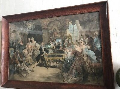 Large Vintage Oil Painting  Piano Scene Victorian Dress Signed V D Paredes