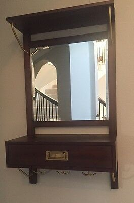 Pottery Barn Mirrored Draper Entryway Organizer Mahogany Brown Nib - Sold Out!