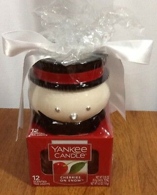 Yankee Candle Snowman Candle Holder 12 Cherries On Snow Tea Lights Gift Set New