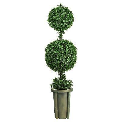 Artificial 5ft Double Ball Leucodendron Topiary With Decorative Vase Indoor/o...