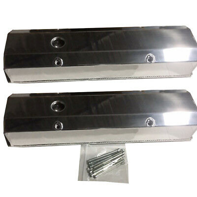 Sbc Small Block Tall Polished Valve Covers For 1958-1986 Chevy 283/350/302/327