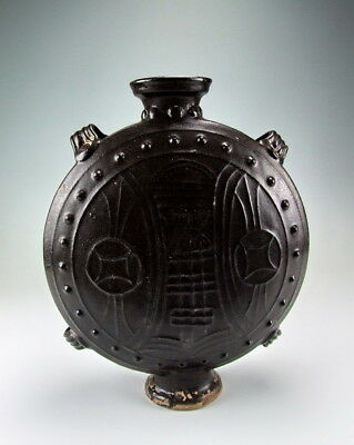 China Antique Flat Moon Black Glazed Porcelain Vase
