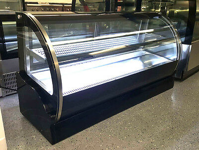 """New 59"""" Curved Glass Stainless Steel Deli Cake Display Refrigerator Countertop"""
