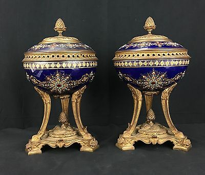 Wonderful Antique 19th Century Pair Of French Sevres Porcelain Lidded Urns