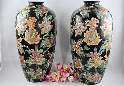 "Antique Chinese Qing Dynasty Famille Rose Black Noire Vases 17 1/2"" Tall"