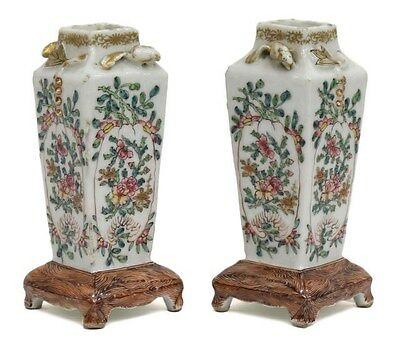 A Pair Of Antique Chinese Famille Verte Porcelain Square Vases