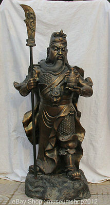 """56"""" Old Chinese Bronze Treasure Bowl Sword Guan Gong Yu Warrior God Stand Statue"""