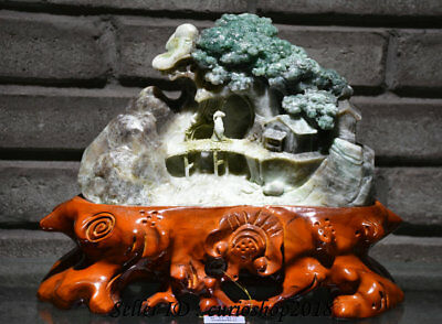 """11"""" Chinese Natural 100% Dushan Green Jade Carved People House Hill River Statue"""