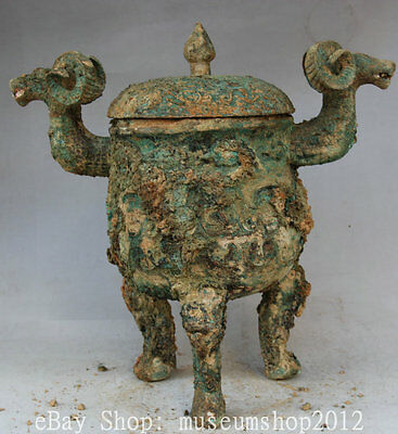 "16"" Old Chinese Bronze Food Wine Vessel Ware Sheep Head Handle Pot Jar Crock"