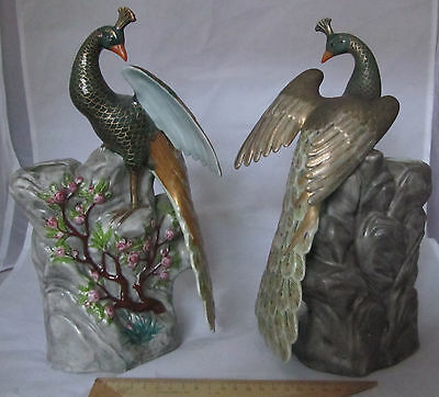 Peacock Phoenix Chinese Porcelain Figurine Figure Vase Set China Jingdezhen