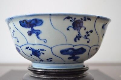 Kangxi Period Chinese Porcelain Bowl Petal Pattern With Wood Stand