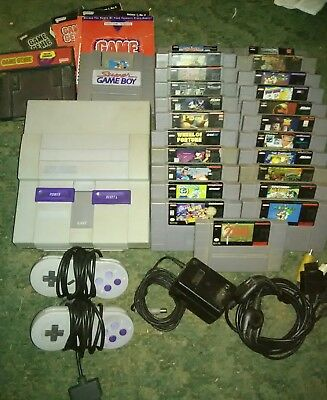 Snes Lot Works Great Original Sytem + 25 Games + Game Genie + Super Gameboy Euc!