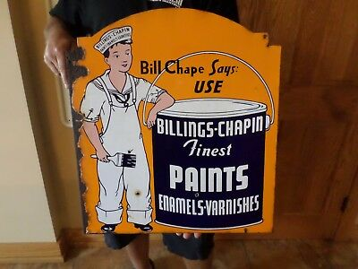 Billings - Chapin Paint Sign Flanged  Super Rare