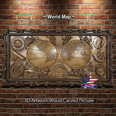 """53""""/151cm❤️️world Map✅wood Carved 3d Artwork Icon Sculpture Painting Picture"""