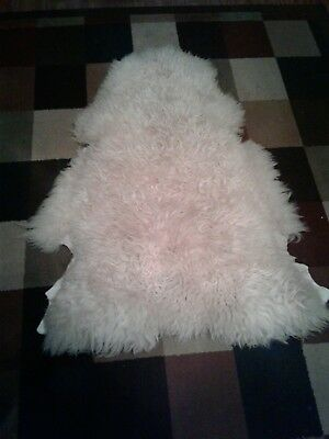 "Vintage Genuine 100% Real Sheared Lamb Skin Wool Throw Run  30"" X 40"""