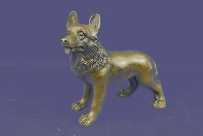 Bronze Sculpture Statue Signed Vienna German Shepherd Dog Animal Pet Gift Decor
