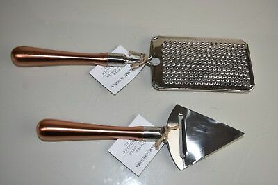 New In Box Williams Sonoma Set 2 Pc Copper Cheese Tools Slicer Grater Great Gift