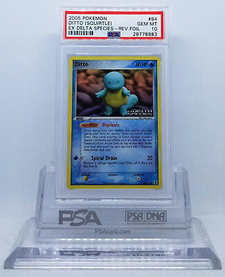 Pokemon Ex Delta Species Ditto [squirtle] #64 Reverse Holo Psa 10 Gem Mint #*