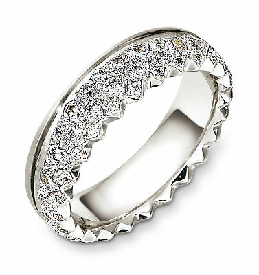 st silver, pave 6mm wedding band, 1/2 cttw sz 4 14