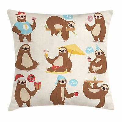 Sloth Throw Pillow Cases Cushion Covers Home Decor 8 Sizes Ambesonne