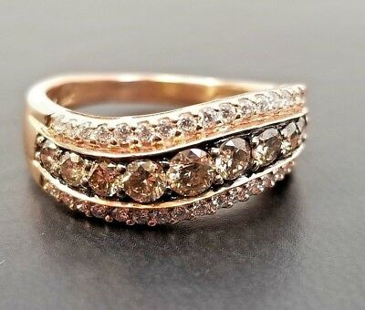 Le Vian Size 8.5 - 14k Gold Ring With 1.20cts Of Chocolate And Vanilla Diamonds