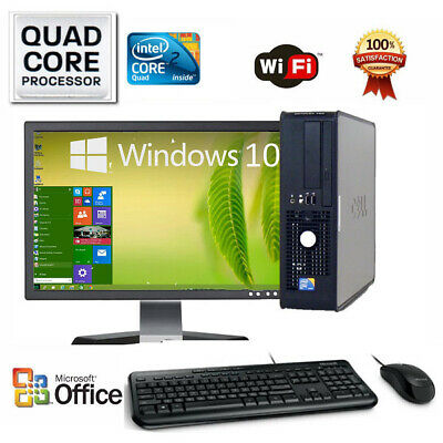 Clearance Fast Dell Desktop Computer Pc Quad Core Win 10 Or 7 Lcd With Sound Bar
