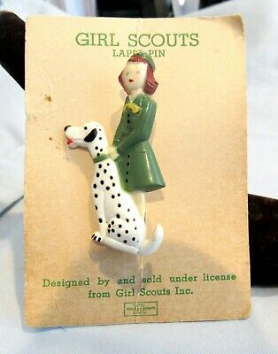 New On Card Rare Dalmatian 1948 Girl Scout Figural Pin Dog Christmas Leader Gift