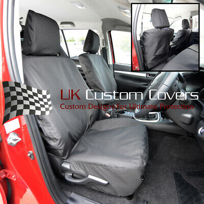 Toyota Hilux Icon & Invincible 2018 On Tailored Front Seat Covers - Black 260