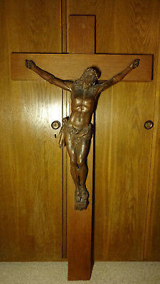 🔆☩ Large 19th Antique Carved Wood Catholic Wall Crucifix Cross Jesus Christ ☩🔆