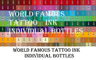 World Famous Individual Single Bottles Tattoo Ink 1 Oz 30 Ml Usa Pick Color
