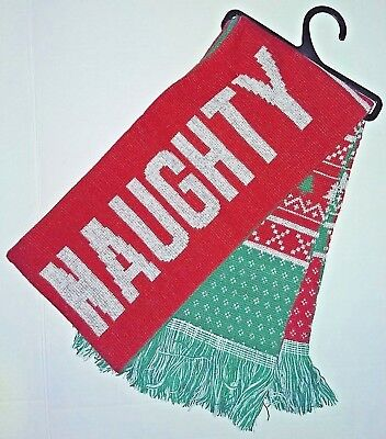 Free Priority Ship Naughty Nice Ugly Christmas Sweater 2-sided Knit Winter Scarf