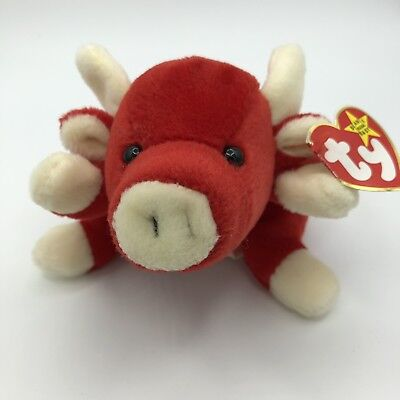 1995 Snort Ty Beanie Baby Red Bull Plushie With Tag / Retired Extremely Rare