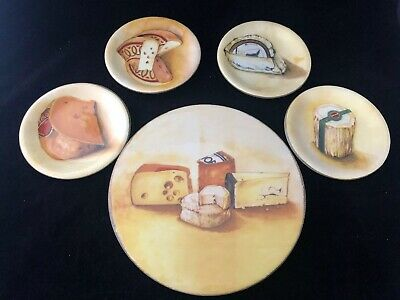 Williams Sonoma Fromage Set Cheese Serving Plate Platter With 4 Appetizer Plates