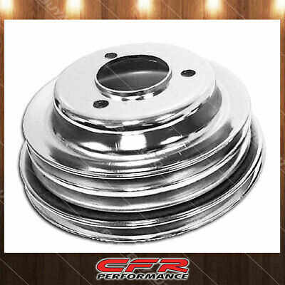 Fits 1969-85 Chevy Bb Big Block 3 Groove Chrome Steel Crank Pulley Long Pump Lwp