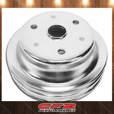 Fits 1969-85 Chevy Sb Small Block Chrome Steel Crankshaft Pulley Long (2 Groove)