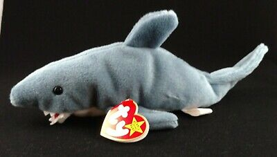 "Rare Ty Beanie Baby ""crunch"" The Blue Shark - Swing Tag Errors Retired"