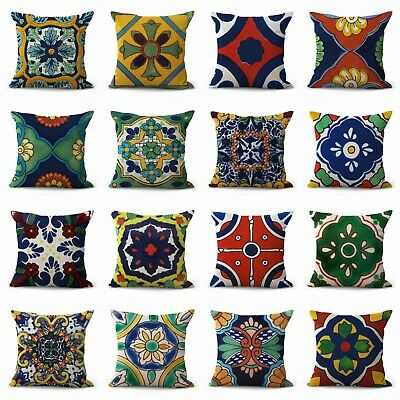Us Seller- Set Of 12 Mexican Talavera Cushion Covers Throw Pillow Case Covers