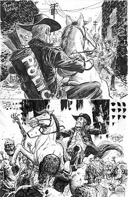 Two 9x12 Tony Moore Sketches Walking Dead Original Art Zombies Rick Grimes Horse
