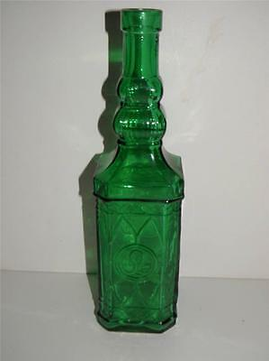 Gorgeous Vintage Green Glass Intricate Wine Bottle Decorative Collectible Spain